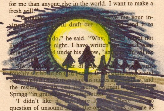 Lost, Found & Told Digital Storytelling Project - an oil pastel and black marker pen drawing on the page of a book depicting a large yellow moon behind a forest of trees and casting shadows. © Hannah Fox/November Club