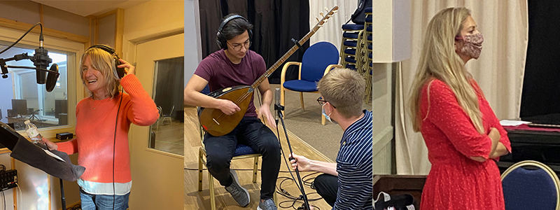 Images of Jane Holman, Khalil Abdulrahman and Katie Doherty in the recording studio