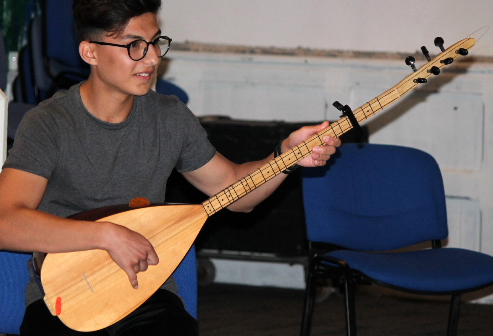 Kaleel playing the Kurdish Oud