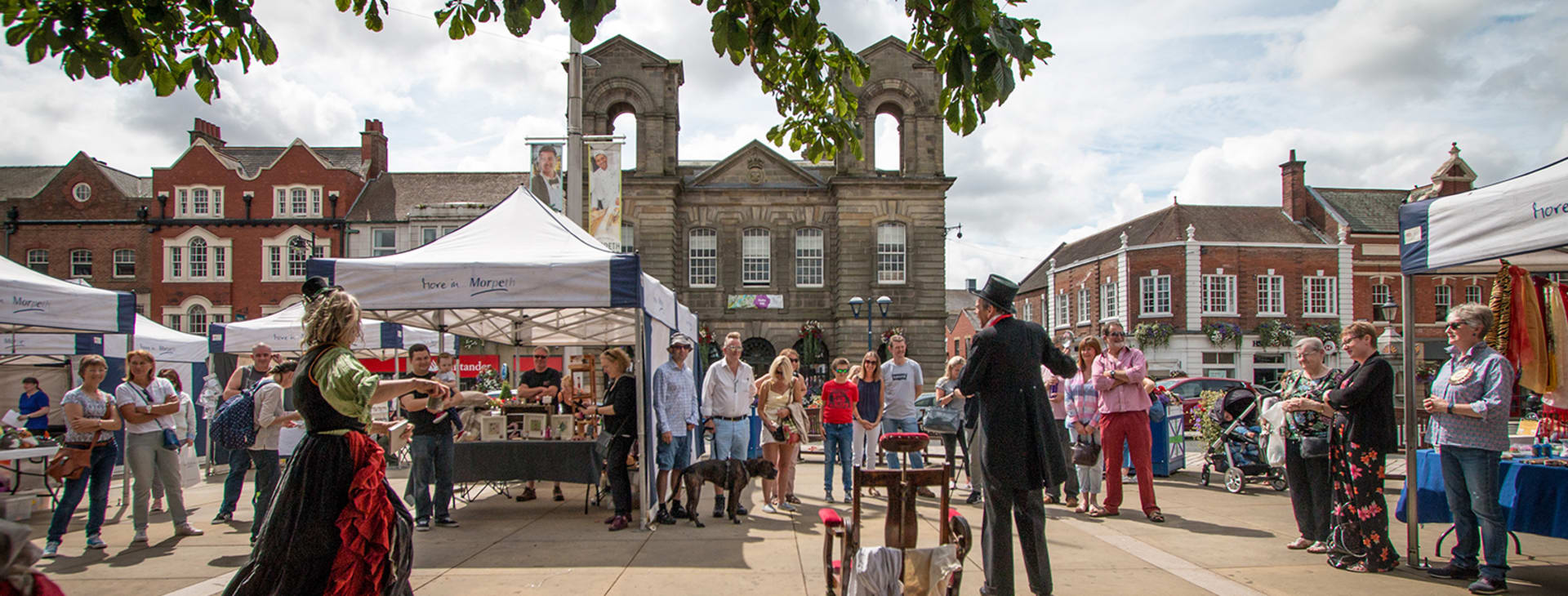 Dr McCavity pop up performance in Morpeth Market Place