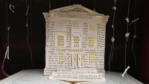A Lit and Phil Carol with a nod to Mr. Dickens- a papercut story tree created by Bethan Maddocks. © Imogen Cloët