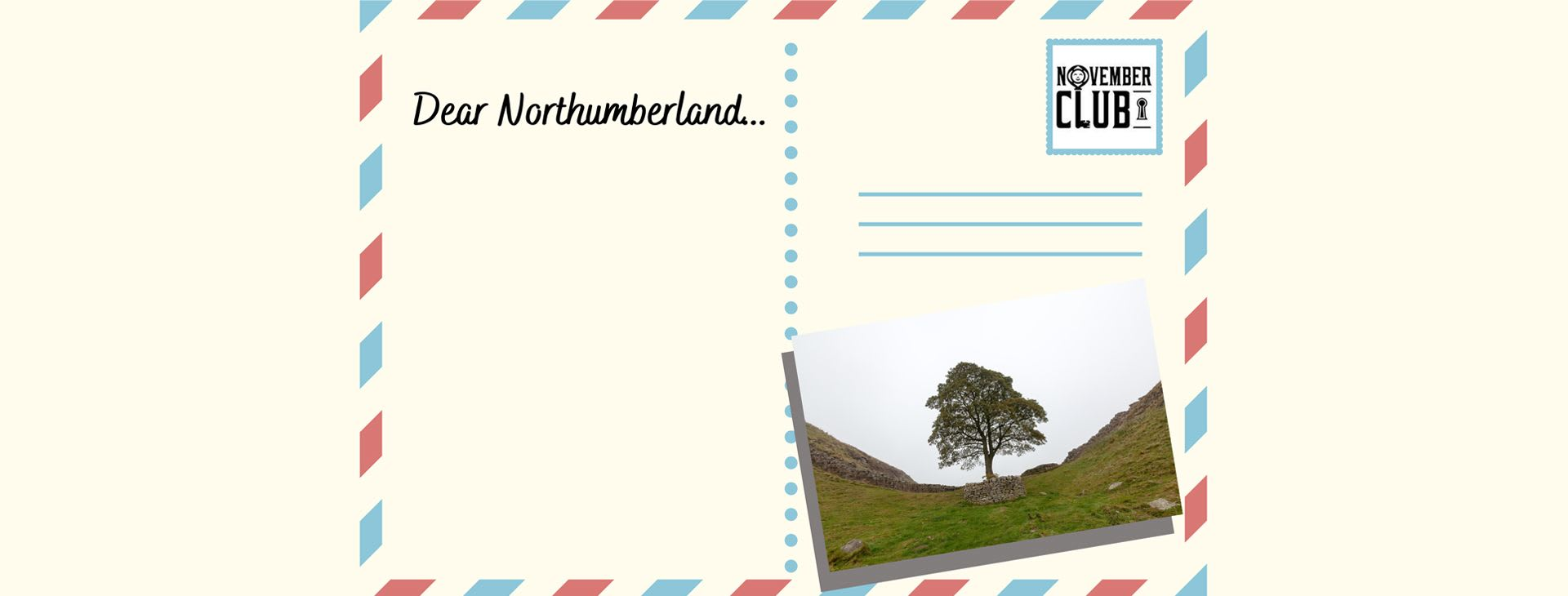 Postcard view of Sycamore Gap on Hadrians Wall
